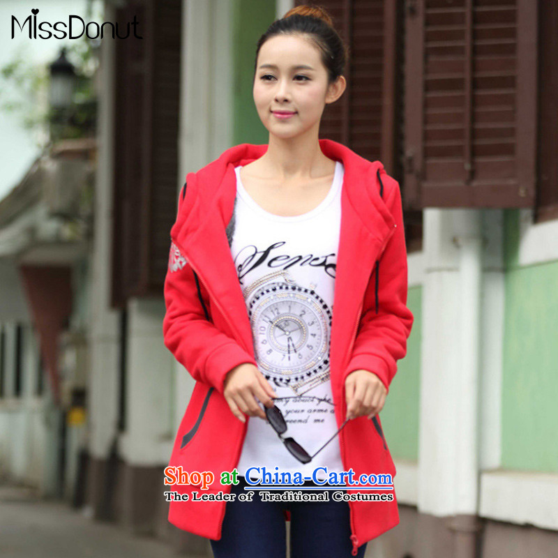 To increase the number missdonut female autumn and winter new thick coat thick sister 200 catties gross sleeve warm stamp zipper cardigan sweater female big red code XL