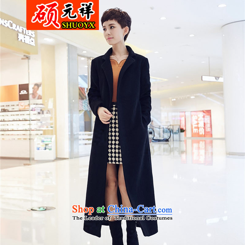 Seok-won-cheung? female coats gross cashmere overcoat autumn and winter new gross?   temperament large jacket graphics, cashmere overcoat so slender black   L