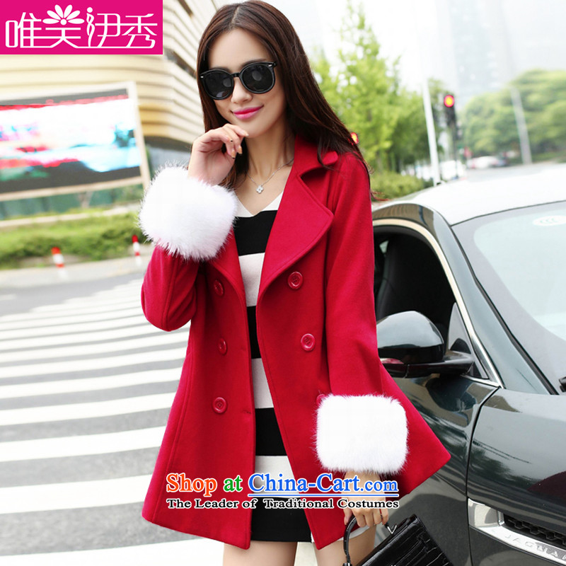 However, the US-Iraqi 2015 autumn and winter female new coats Korean gross? graphics thin stylish large Sau San lapel medium to long term_? sub-jacket double-feed with gross cuff? red燲L