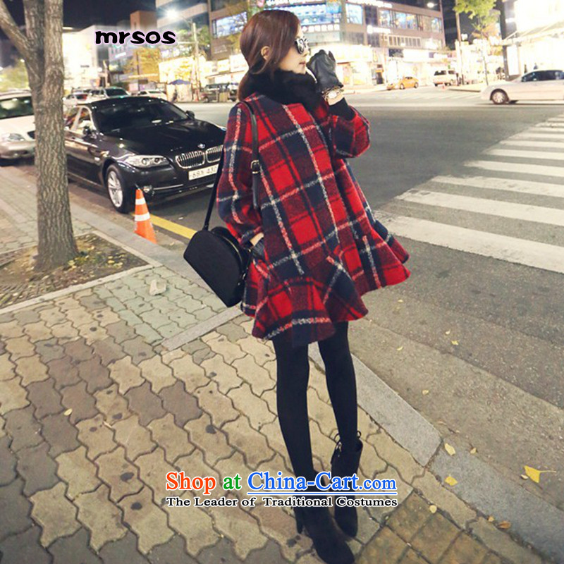 Mrsos autumn and winter 2015 Korean version of the new grid gross? petticoats billowy flounces butted long neck a wool coat female red聽L
