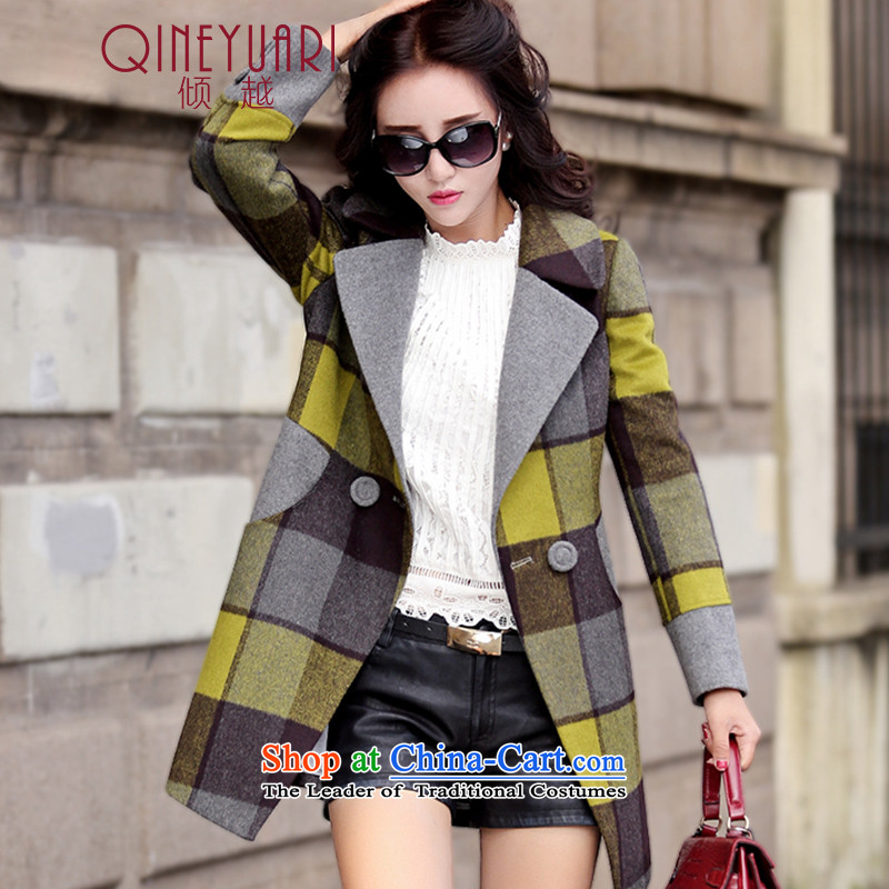 The wool coat is dumping women 2015 new autumn and winter Korean Sau San thick latticed gross girls jacket? Long cashmere a wool coat JD0654 green plaid燲L