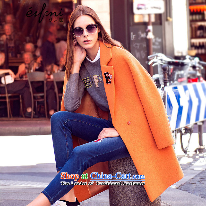 El Boothroyd 2015 winter clothing New Marker-letter long female wool a wool coat 6580947512 BISQUE燬