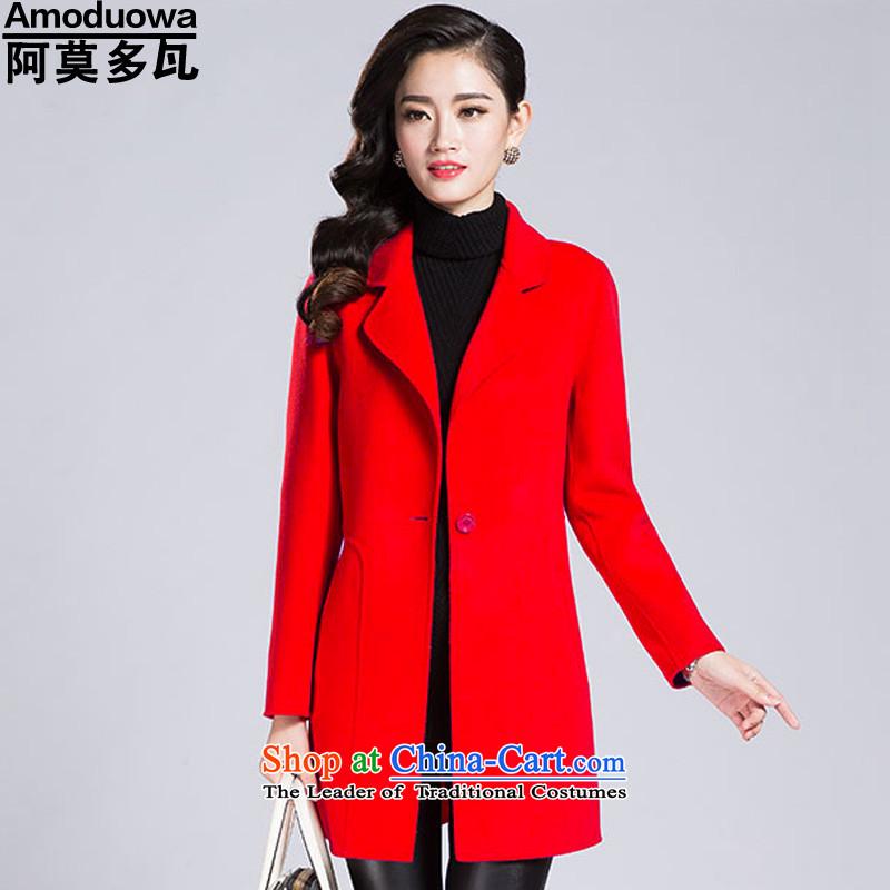 Cordoba Amorim�15 Autumn new for women Korean version of large numbers of Sau San OL long-sleeved jacket coat? 6691 Red燲XL
