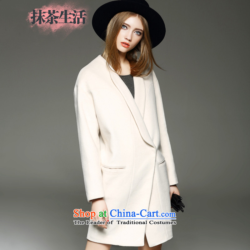 Matcha life? female coats wool long 2015 autumn and winter new Western Wind solid color T-shirt, beige jacket gross?燬