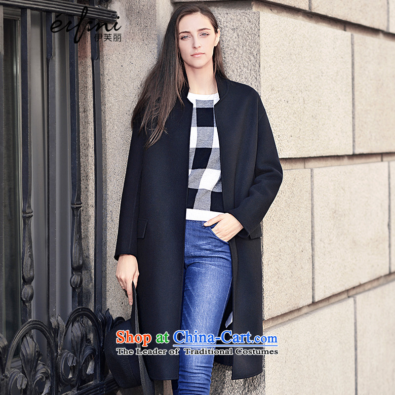 El Boothroyd 2015 winter clothing new cocoon-double-side in long woolen coat 6581017047 Black S
