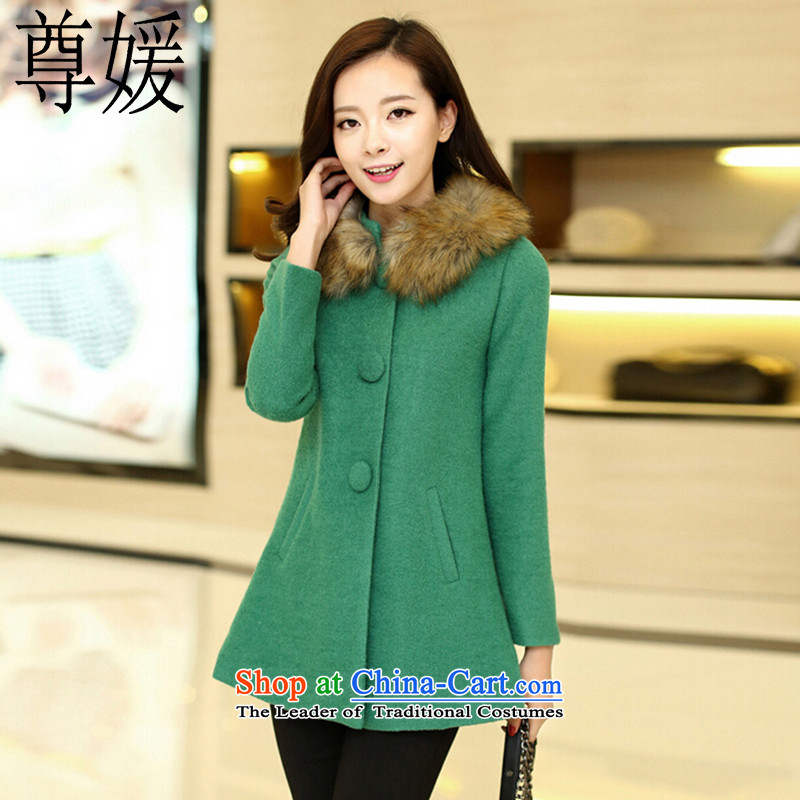 Extreme yuan by 2015 autumn and winter new Korean version in the mantle of Gross Gross for female coat? A COAT 1812 Green  M