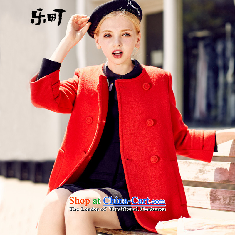 Lok-machi 2015 Autumn new jacket, sweater gross coats that long?_? jacket double-a wool coat female red S_155