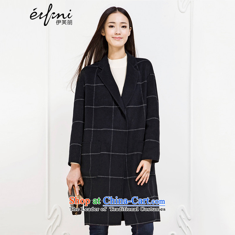 Of the 2015 winter clothing new Lai Plaid the oldest daughter thick double-side coats 6581017326 navy blueM