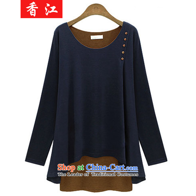Xiang Jiang to increase women's code, forming the sister shirt 200 thick catty thick mm autumn graphics thin long-sleeved false two pieces of knitted shirt dresses 538 large dark blue 5XL