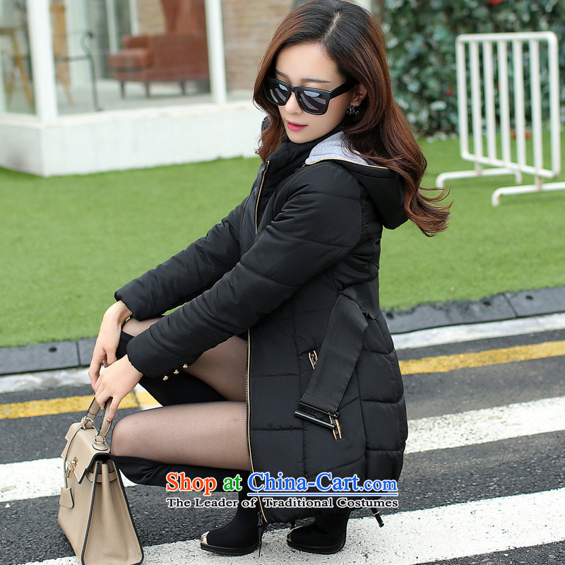 Winter clothing feather cotton coat female Korean jacket thick mm larger women in long Cotton Women loose robe cotton waffle to increase the burden of long coats in 200 Black 4xl recommendations 170-185 catty