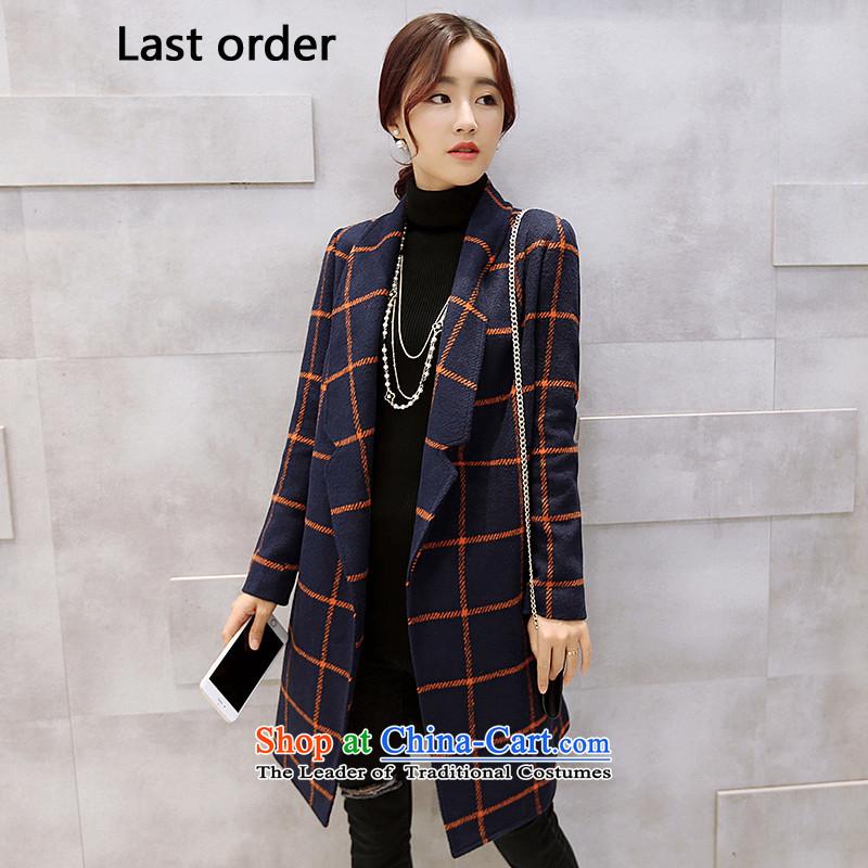 Last order Korean wild latticed coats of Sau San Mao jacket female dark blue?L