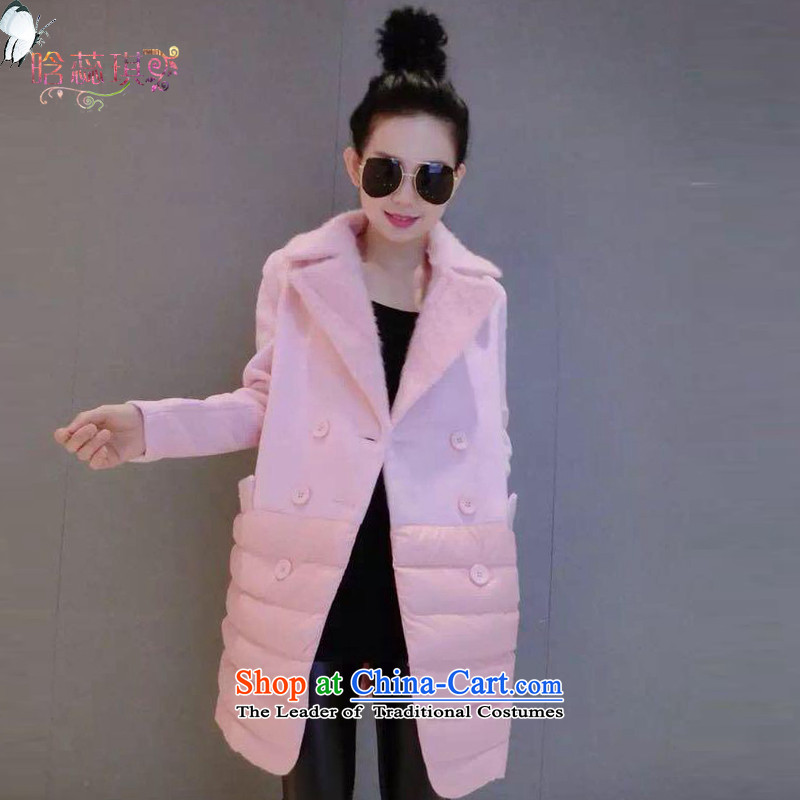 Detailed Yui Leung2015 new long-sleeved jacket a girl? female H6138 coats gross pinkL