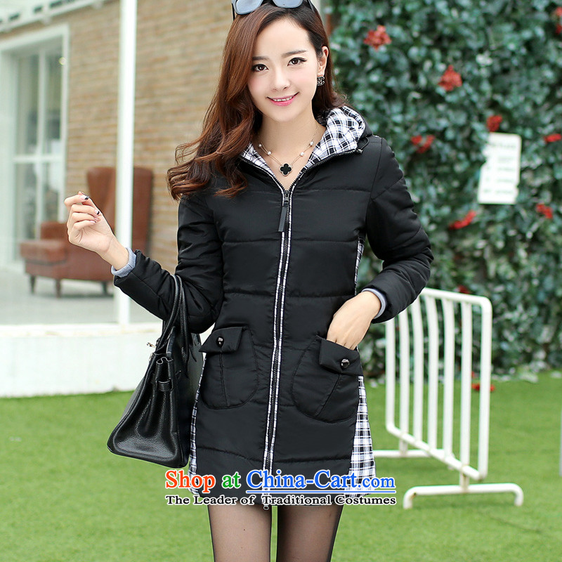 In 2015 winter cotton coat long jacket, thick mm cap cotton coat girls and women to code loose cotton-padded coats female 200 catties Korean New thick black jacket coat sister�l recommendations 165-180 catty