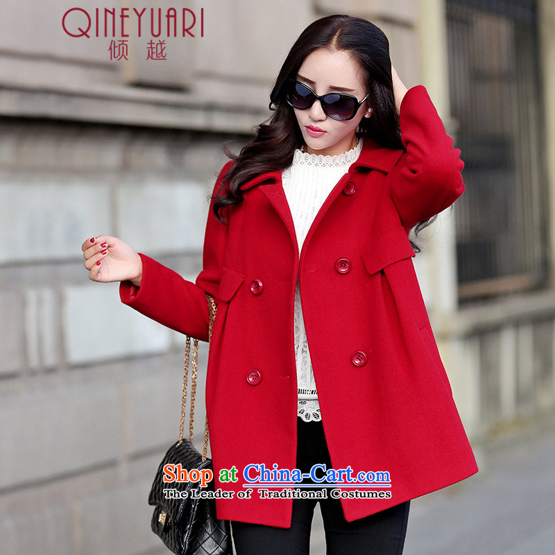 The�15 autumn and winter dumping new Korean female jacket is loose hair in long wool a wool coat JD0697 RED燲XL