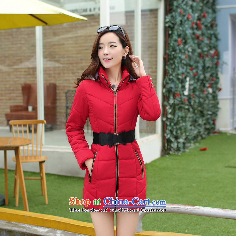 2015 winter coat in the new long Korean large fat mm cap for winter coats cotton coat thick MM200 catty long coat in the oversized female red燲XXXL
