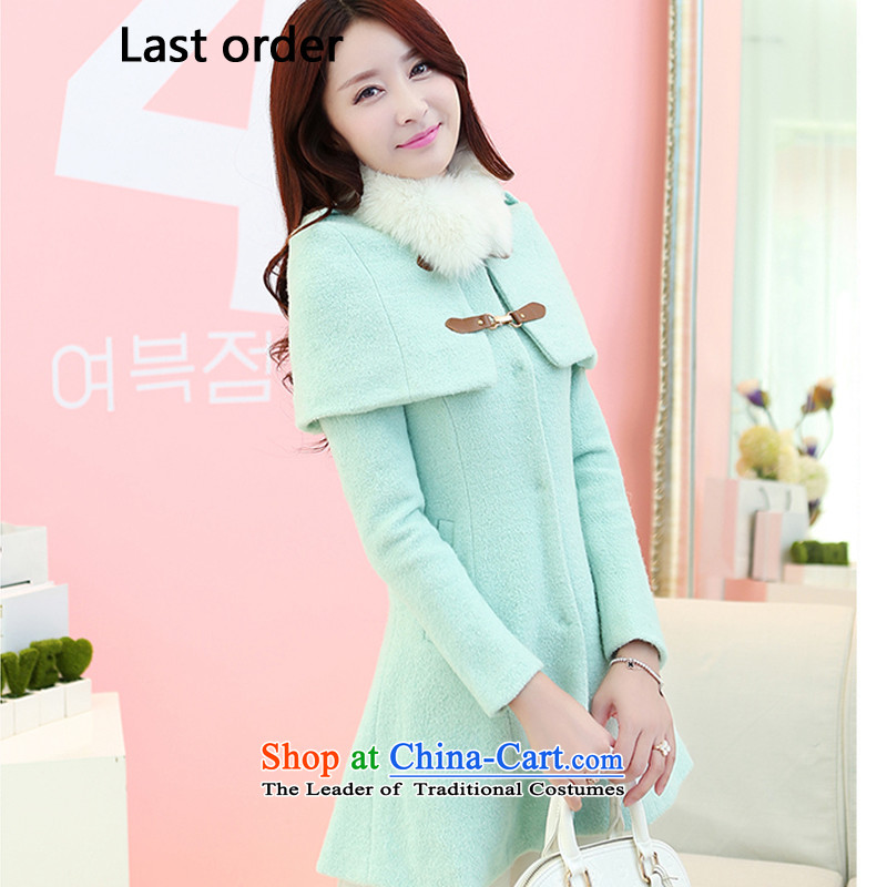 Last order new winter coats girl Won? Gross Gross collar cloak version in the long autumn and winter, warm wind jacket gross? lady shirt female mint green?M