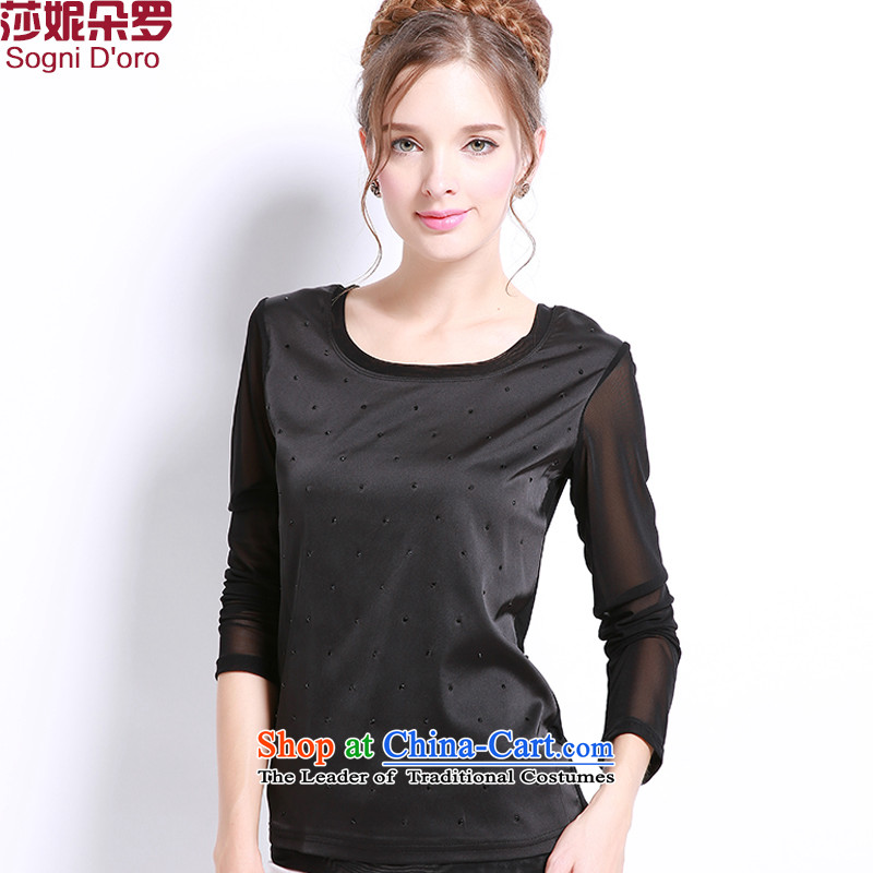 Shani flower, XL, forming the Women's clothes to xl fall thick mm thick people replace video thin, thick sister long-sleeved T-shirt 13232 female black聽5XL T-Shirt