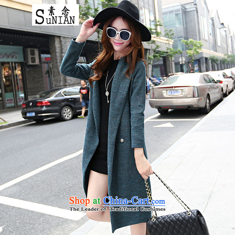 The concept of gross coats female�15 Autumn? New for women in Europe and the coat long hair loose coat blue jacket, Ms.?燣
