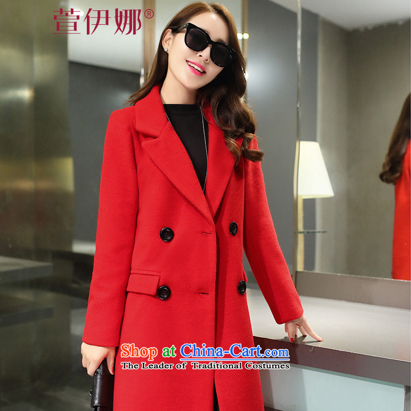 Xuan ina 2015 autumn and winter new women a jacket Korean citizenry wild in the Sau San long double-gross flows of female YBX22 jacket? red XL
