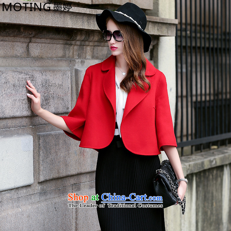 Moting The Ting 2015 autumn and winter new fall for women duplex manually non-cashmere overcoat female short of what woolen coat female Korean Chinese red L
