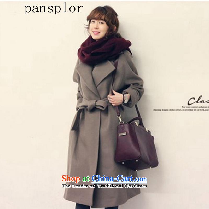 2015 聽Autumn and winter video pansplor thin Korean fashion, long lapel wool jacket? a wool coat female Korean Silver Gray聽L