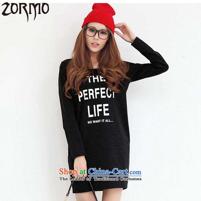 Large ZORMO women in autumn and winter long long-sleeved T-shirt female thick mm to increase the number of black shirt, forming the 4XL