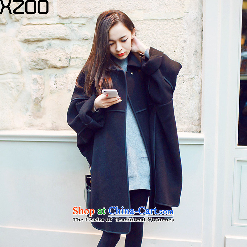 Wool coat is XZOO female autumn and winter 2015. New Long jacket, black XL