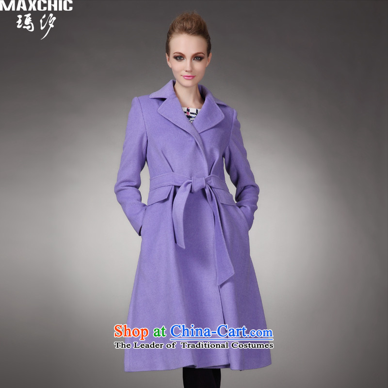 Marguerite Hsichih maxchic 2015 autumn and winter clothing for the simple cloth belt in Sau San long wool coat female 20992? purple燬