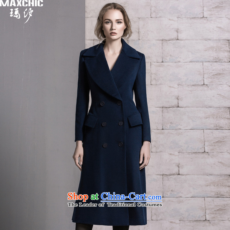 Marguerite Hsichih maxchic 2015 autumn and winter western style, double-large roll collar in Sau San long wool coat Women Ms.? 21082 blue燬