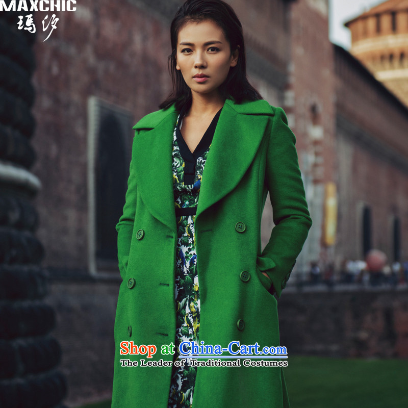 The elections of the same health maxchic stars Marguerite Hsichih 2015 winter is simple and stylish in Sau San long double-wool coat Women Ms.? 21092 GreenM