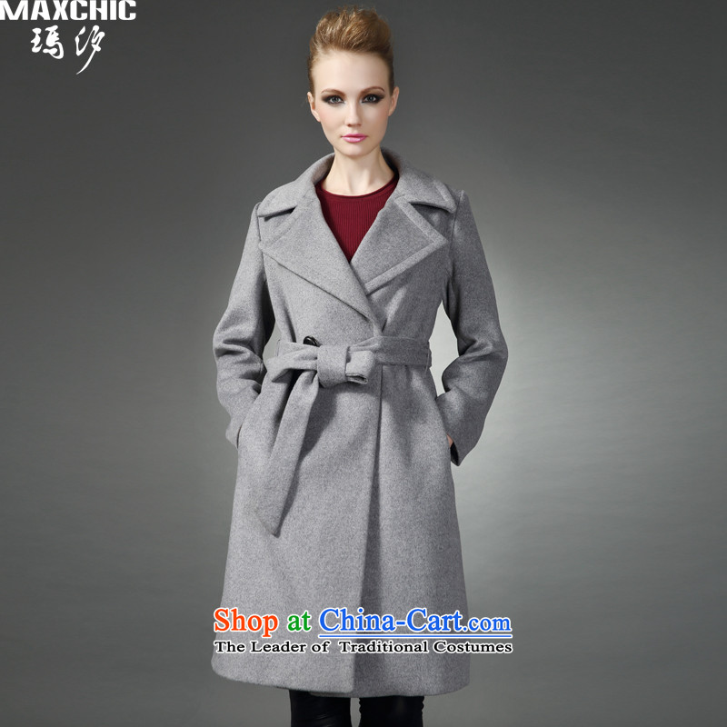 Marguerite Hsichih maxchic 2015 autumn and winter, western style Sau San reverse collar double-long-sleeved wool coat female 20732? gray燲XL