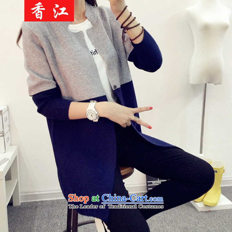 Xiang Jiang thick girls' Graphics thin 2 mm thick fall inside the burden of large numbers of female jackets in long thin thick sister graphics on the knitwear shabbily?5210?Light Gray + Navy larger 3XL 170-200 catty