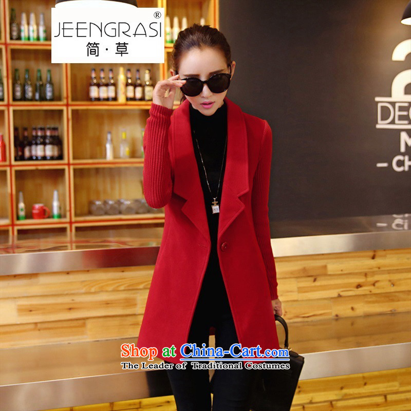 In short, 2015 Grass long temperament Fall_Winter Collections of New Jersey cuff a stylish Sau San Korean Wild Hair? jacket red聽XL