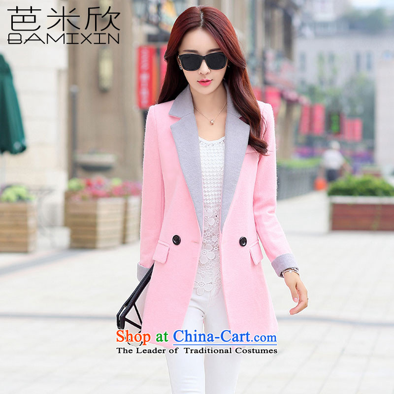 Barbara mikhin gross girls jacket? Long Korean version 2015 Sau San autumn and winter lapel new long-sleeved wool a wool coat jacket female F6459 pink XXL
