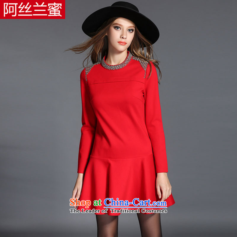 Of the Yucca honey xl thick MM THIN autumn 2015 installed graphics larger female stapled Pearl Sau San dresses R20964XL_165 catty -180 catty Red Cross_