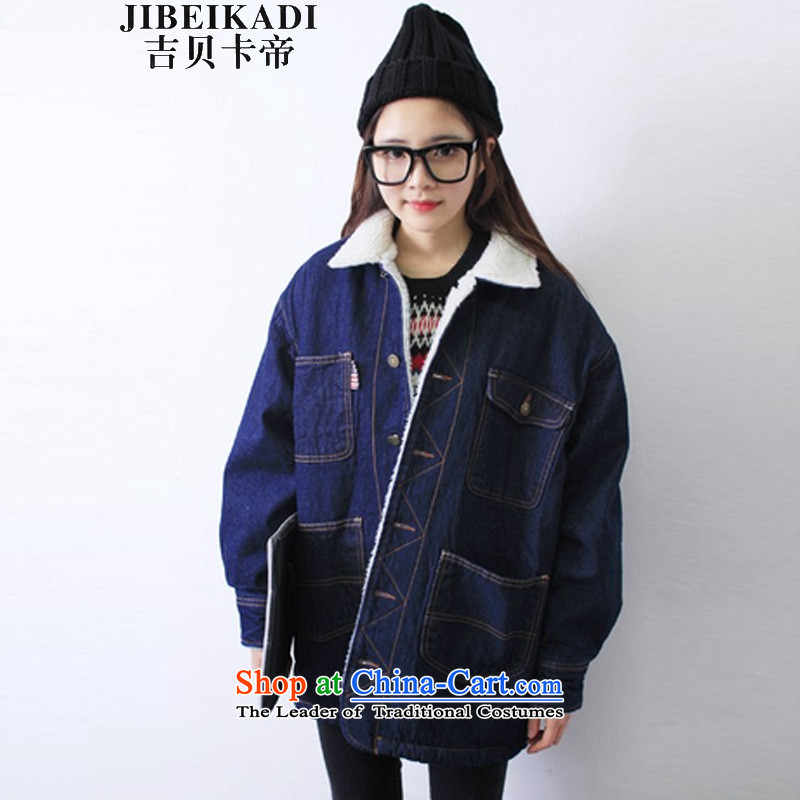 The Korean version of winter thickened _2015 plus lint-free Preppy Lamb Wool coat pocket loose cowboy jacket female blue XXL