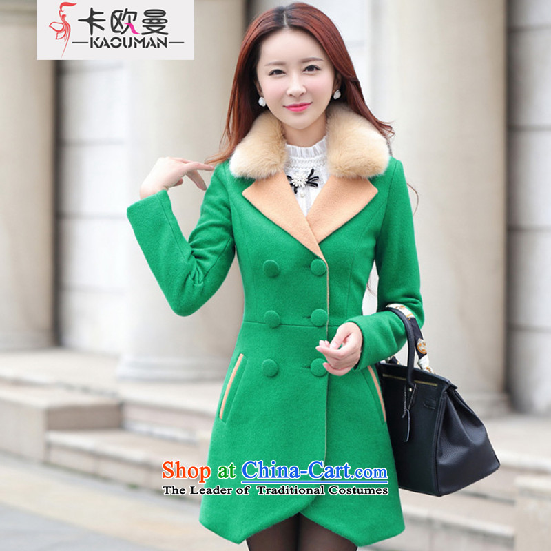 In 2015, the Cayman autumn and winter new products in Korean long hair? Small incense Wind Jacket Sleek and versatile Sau San video lapel of long-sleeved thin double-windbreaker coats shirt green XL