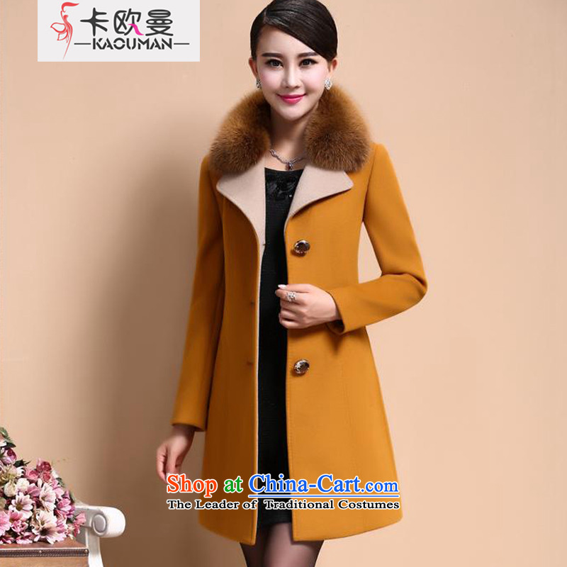 In Cayman autumn and winter 2015 new trendy gross fox wild upscale cashmere cloak large warm video in thin long single row clip hair? t-shirt jacket XXL. yellow.