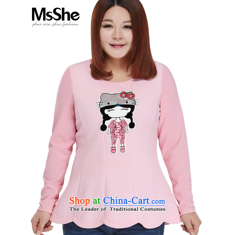 To increase the number msshe women 2015 new autumn replacing thick MM sweet cartoon picture sweater 10551�L Pink