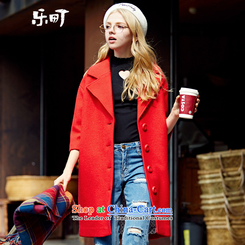 Lok-machi 2015 Autumn new gross jacket in long?_? a coat of gross Korean wild autumn and winter clothes S_155 red