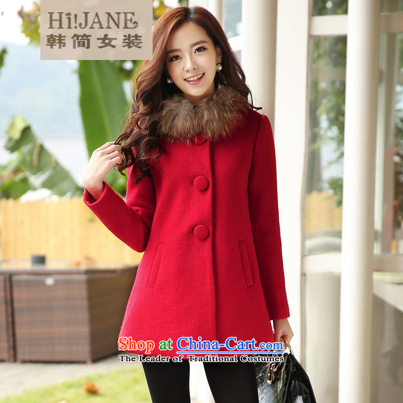 All Applies   hi_ Jane2015 autumn and winter new Korean trendy code women lapel a wool coat in the long hair? jacket female woolen coat female plus cotton red to gross for燣
