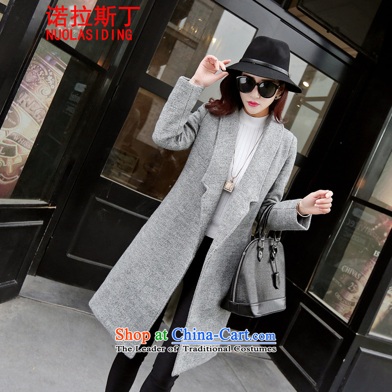 Noras ding a wool coat women 2015 autumn and winter new Korean female jacket is thick wool over the medium to longer term, Sau San video minimalist thin gray?M