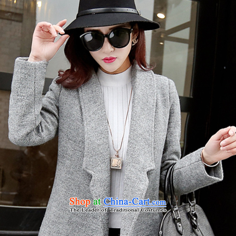 Noras ding a wool coat women 2015 autumn and winter new Korean female jacket is thick wool over the medium to longer term, Sau San video minimalist thin gray聽M NORAS Ding shopping on the Internet has been pressed.