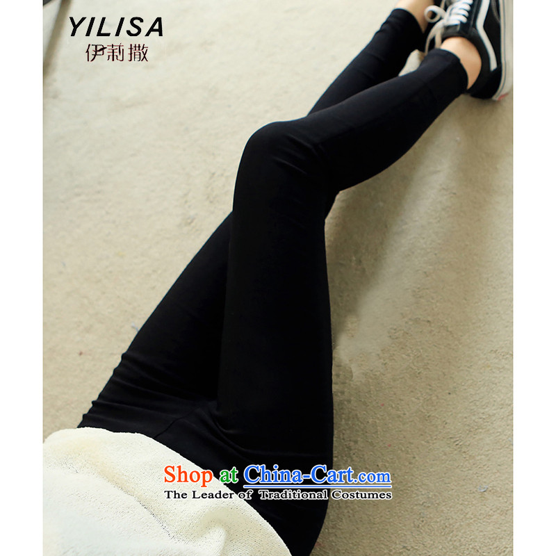 Elizabeth sub-2015 autumn and winter new to xl ladies casual wear trousers thick MM200 catty stretch Korean female H2178 trousers, forming the black燲XL 140-165 recommended weight catty