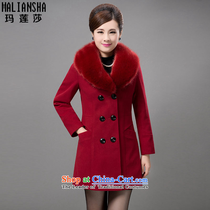Mary Wu Sha 2015 new Korean large Sau San in the number of older women in the gross? coats long jacket, BM13818 BOURDEAUX燲XXL