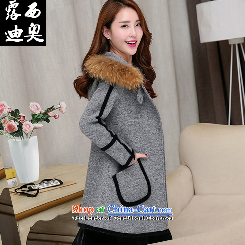 Lucie, gross? Korean Women's jacket coat 2015 autumn and winter new cloak cashmere overcoat, long hair collar cap gross MN1562 coats gray XL?