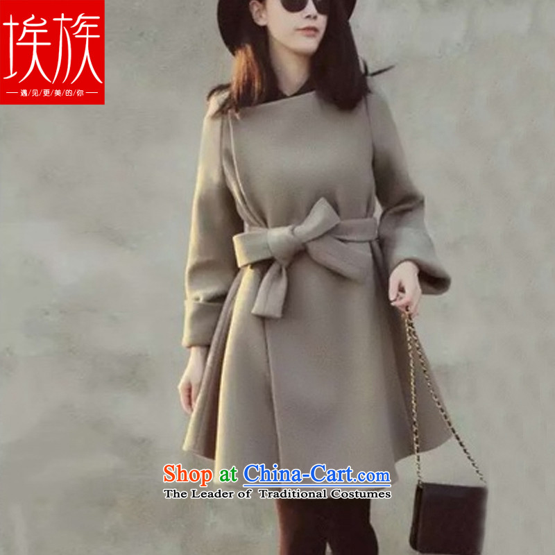 Egyptian wool coat? female autumn and winter 2015 won the new version of the long gray jacket, lint-freeM