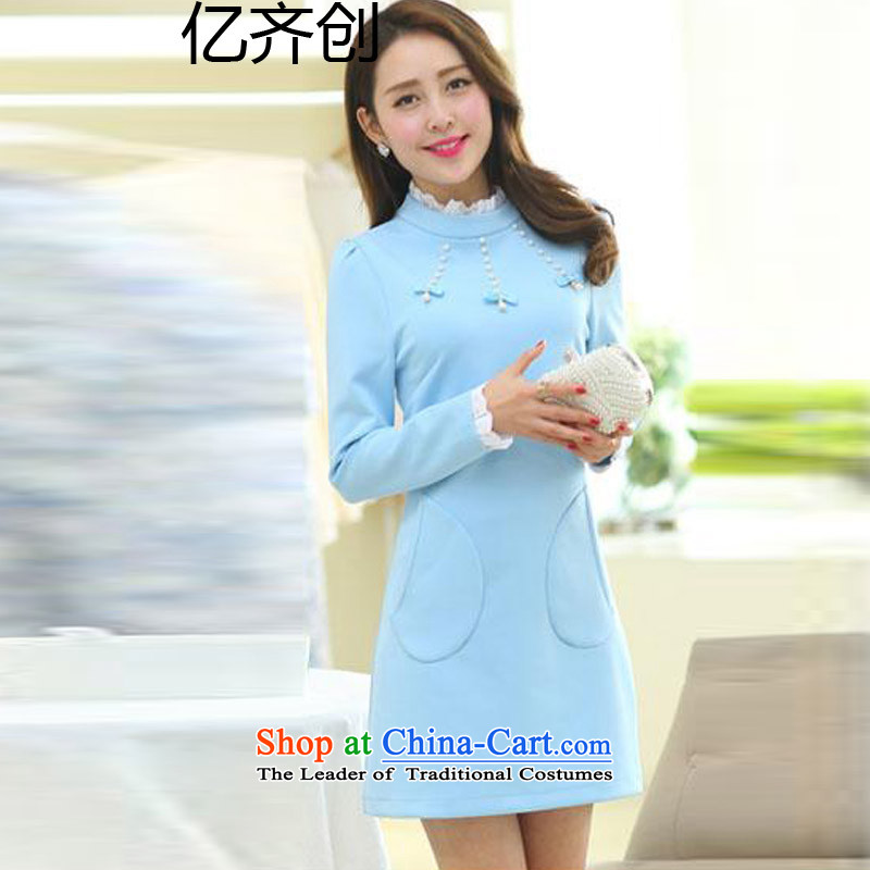 Create the autumn 2015 billion won version to load increase women's thick mm long-sleeved dresses thick sister in thin long graphics shirts  F6619  XXXXL light blue