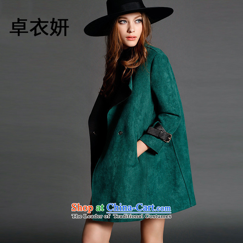 The new liberal 1404_2015 autumn stylish lapel long jacket coat in green燤