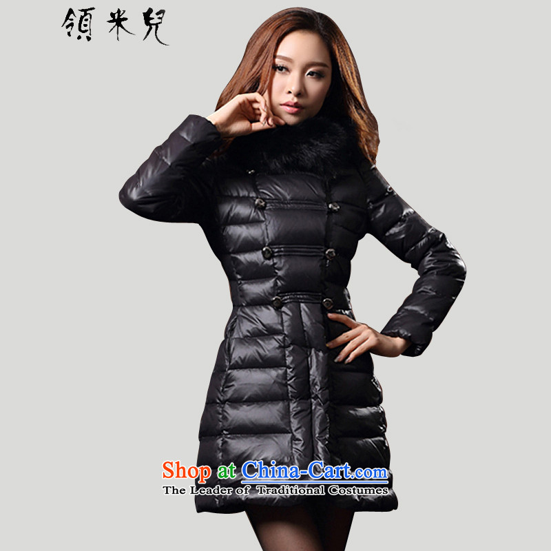 For M- 2015 to increase the number of women with new winter clothing thick, Hin in thin long warm-thick Sau San DOWNCOAT HOODIE Y18015 3XL black